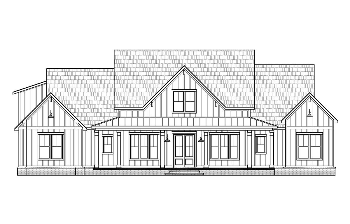 Country, Farmhouse Plan with 2400 Sq. Ft., 4 Bedrooms, 4 Bathrooms, 3 Car Garage Picture 2