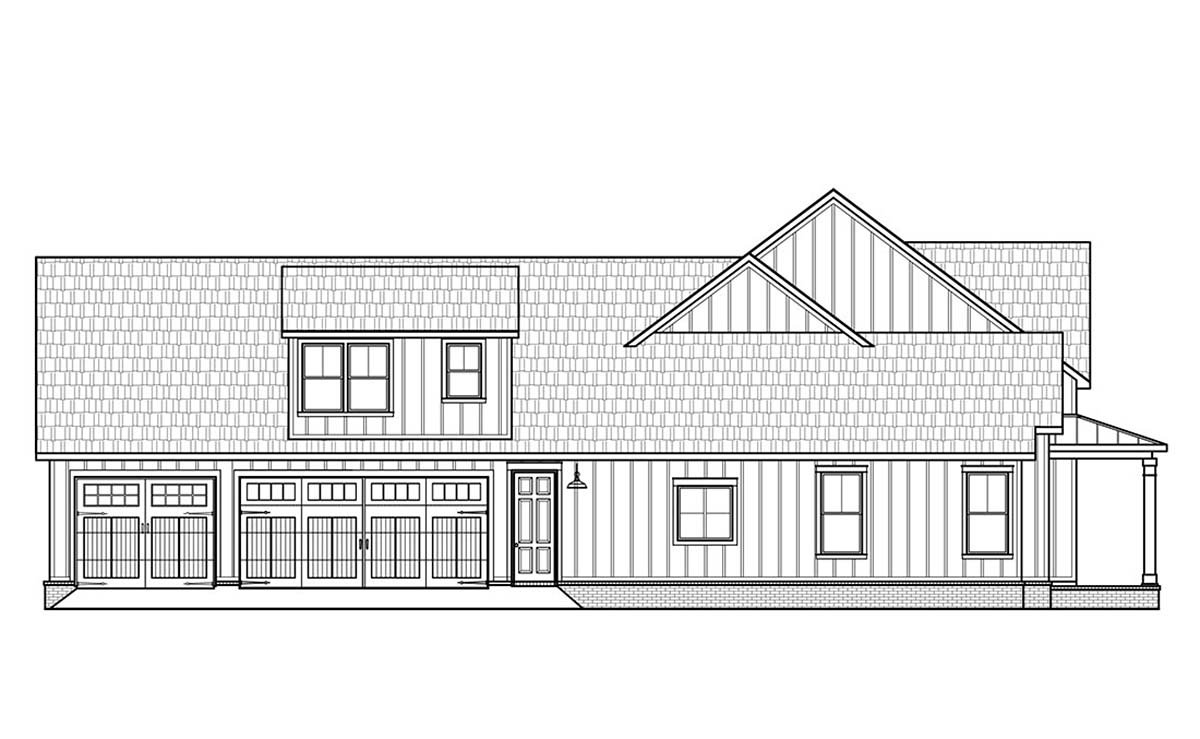 Country, Farmhouse Plan with 2400 Sq. Ft., 4 Bedrooms, 4 Bathrooms, 3 Car Garage Picture 3