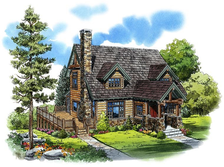Cabin, Cape Cod, Country Plan with 2049 Sq. Ft., 3 Bedrooms, 3 Bathrooms Elevation