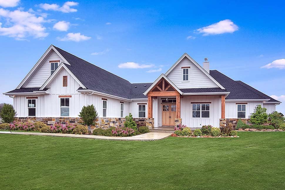 Cottage, Craftsman, Southern Plan with 3311 Sq. Ft., 5 Bedrooms, 4 Bathrooms, 3 Car Garage Elevation