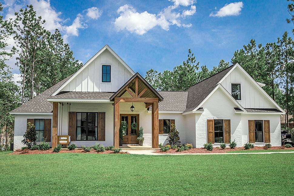 Country, Craftsman, Farmhouse Plan with 2373 Sq. Ft., 4 Bedrooms, 3 Bathrooms, 2 Car Garage Elevation