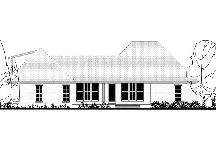 Country, Craftsman, Farmhouse Plan with 2373 Sq. Ft., 4 Bedrooms, 3 Bathrooms, 2 Car Garage Rear Elevation