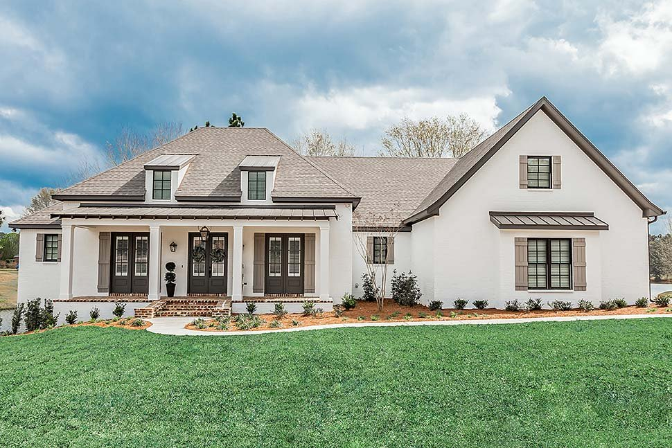 Acadian, French Country, Southern Plan with 2854 Sq. Ft., 3 Bedrooms, 2 Bathrooms, 3 Car Garage Elevation