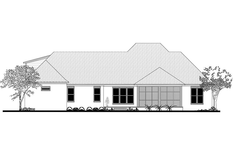 Acadian, French Country, Southern Plan with 2854 Sq. Ft., 3 Bedrooms, 2 Bathrooms, 3 Car Garage Rear Elevation
