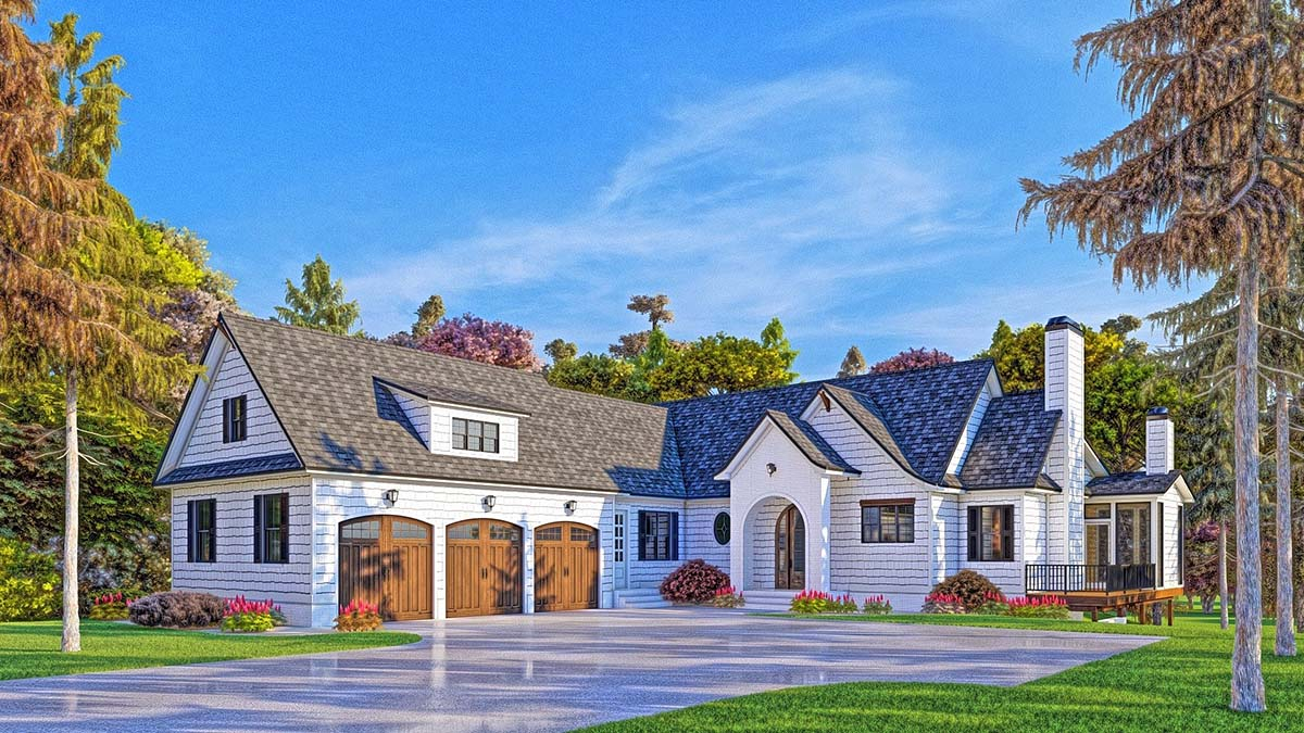 Coastal, Farmhouse, Southern Plan with 3794 Sq. Ft., 4 Bedrooms, 5 Bathrooms, 3 Car Garage Elevation