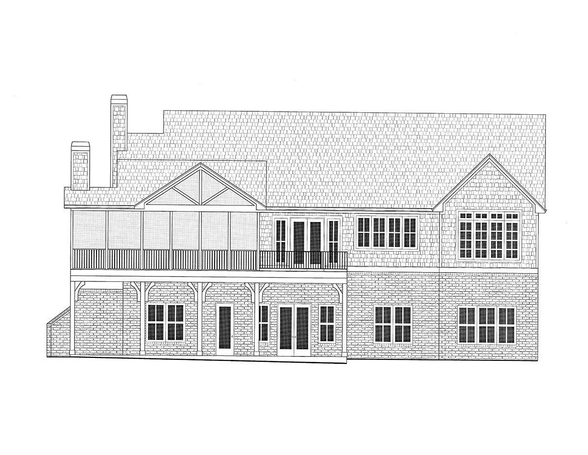 Coastal, Farmhouse, Southern Plan with 3794 Sq. Ft., 4 Bedrooms, 5 Bathrooms, 3 Car Garage Rear Elevation