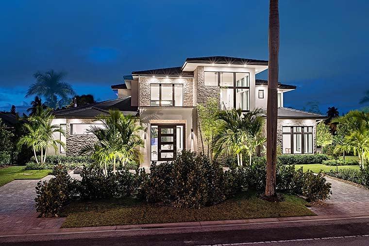 Coastal, Contemporary, Florida, Mediterranean Plan with 4350 Sq. Ft., 4 Bedrooms, 5 Bathrooms, 3 Car Garage Elevation