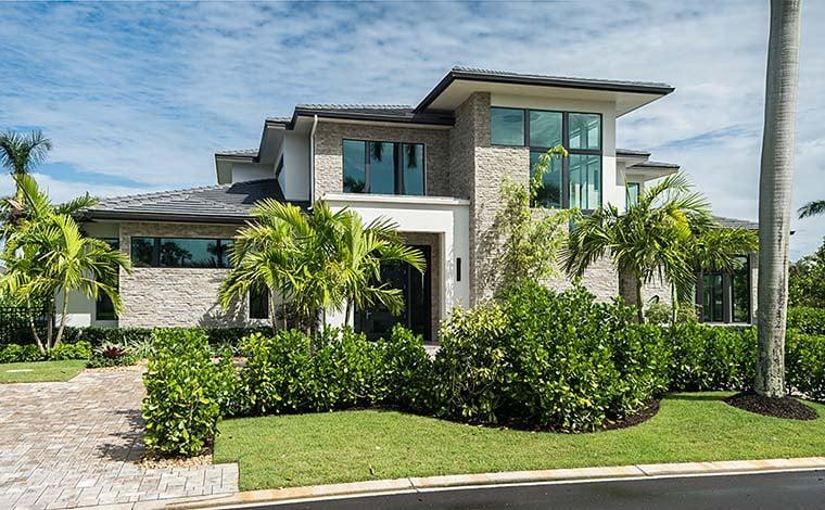 Coastal, Contemporary, Florida, Mediterranean Plan with 4350 Sq. Ft., 4 Bedrooms, 5 Bathrooms, 3 Car Garage Picture 2