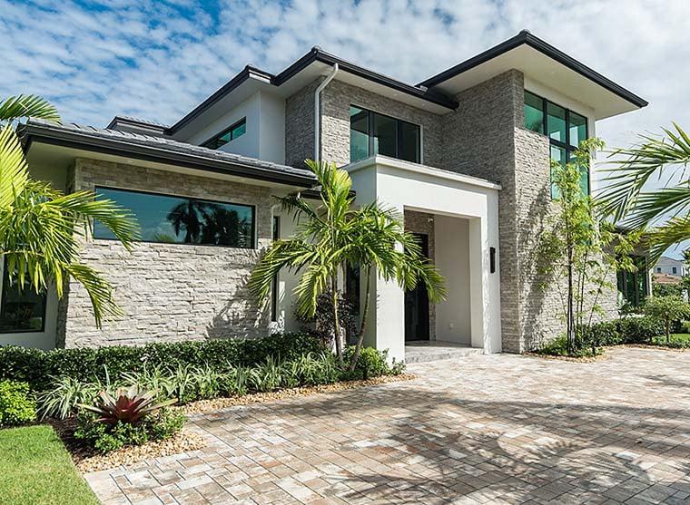 Coastal, Contemporary, Florida, Mediterranean Plan with 4350 Sq. Ft., 4 Bedrooms, 5 Bathrooms, 3 Car Garage Picture 3