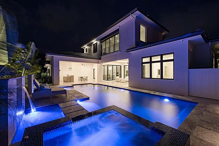 Coastal, Contemporary, Florida, Mediterranean Plan with 4350 Sq. Ft., 4 Bedrooms, 5 Bathrooms, 3 Car Garage Picture 6