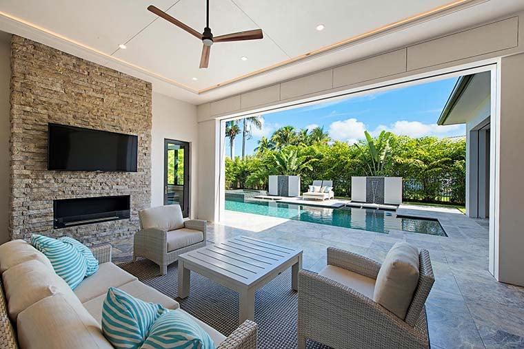 Coastal, Contemporary, Florida, Mediterranean Plan with 4350 Sq. Ft., 4 Bedrooms, 5 Bathrooms, 3 Car Garage Picture 8