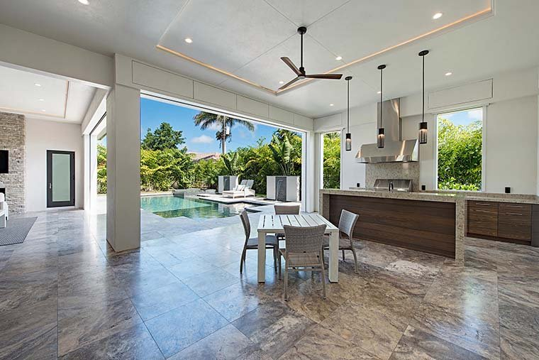 Coastal, Contemporary, Florida, Mediterranean Plan with 4350 Sq. Ft., 4 Bedrooms, 5 Bathrooms, 3 Car Garage Picture 9