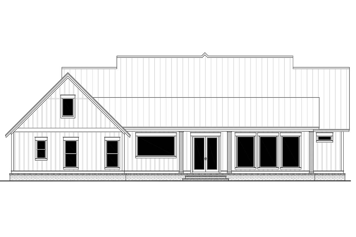 Country, Craftsman, Farmhouse Plan with 2553 Sq. Ft., 3 Bedrooms, 3 Bathrooms, 2 Car Garage Rear Elevation
