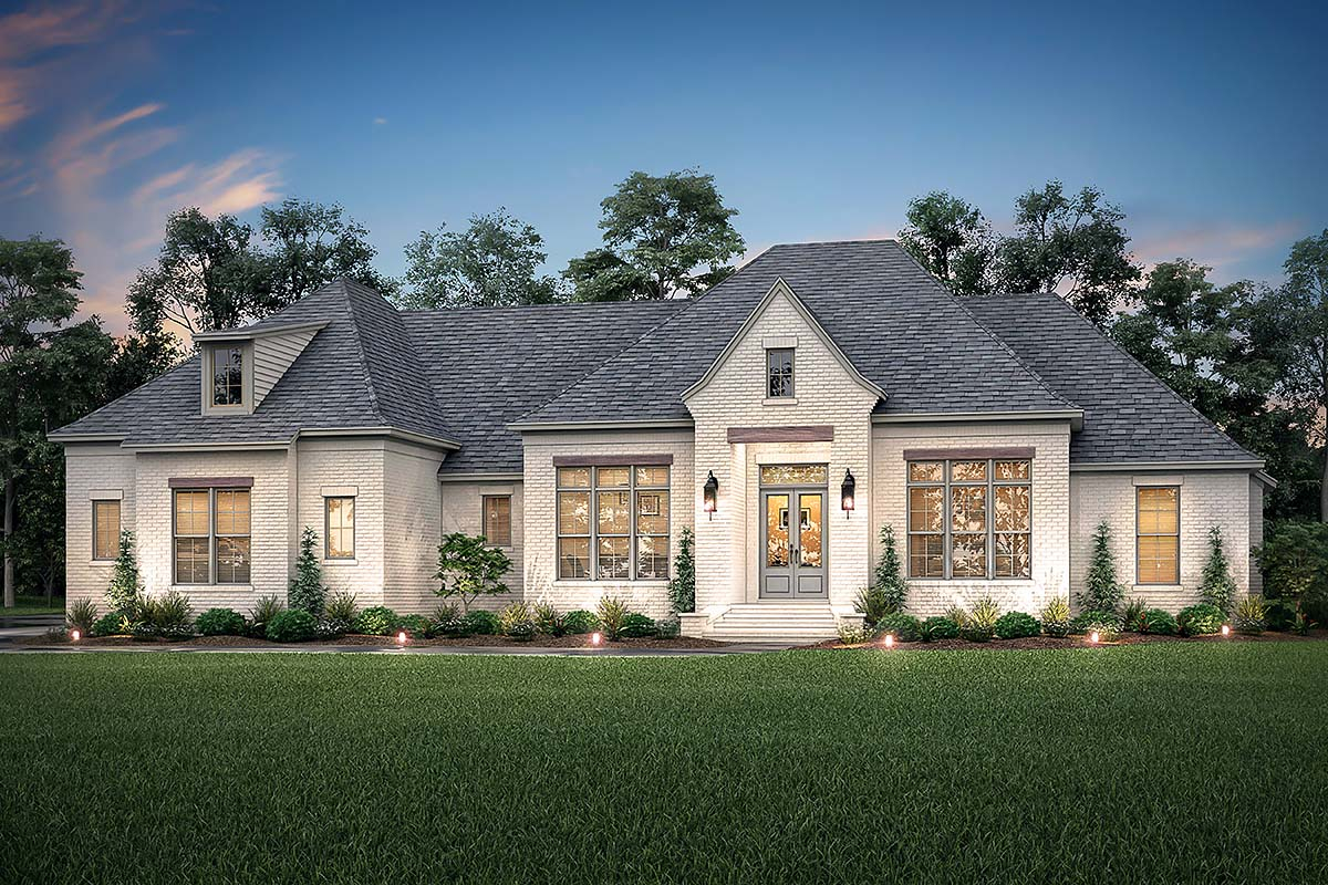 Country, European, French Country Plan with 3032 Sq. Ft., 4 Bedrooms, 3 Bathrooms, 3 Car Garage Elevation
