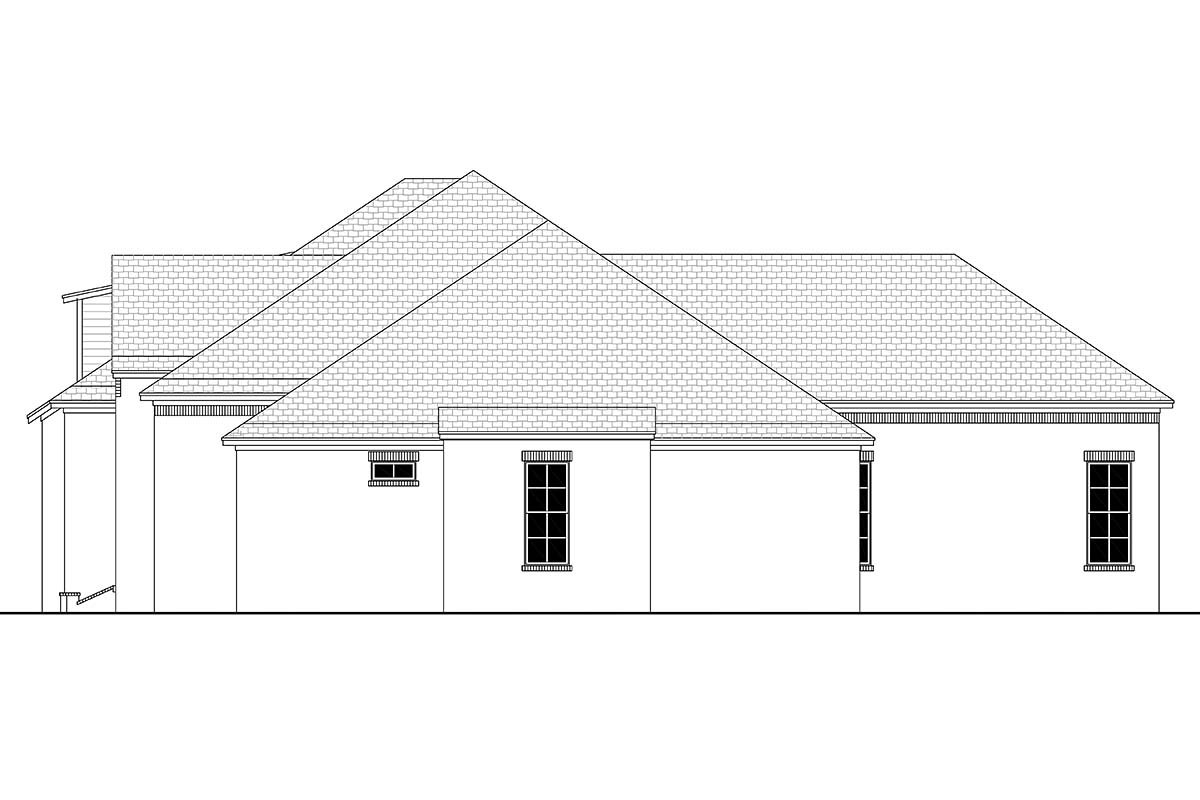 Country, European, French Country Plan with 3032 Sq. Ft., 4 Bedrooms, 3 Bathrooms, 3 Car Garage Picture 2