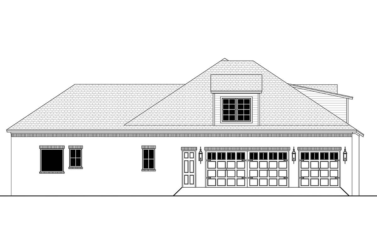 Country, European, French Country Plan with 3032 Sq. Ft., 4 Bedrooms, 3 Bathrooms, 3 Car Garage Picture 3