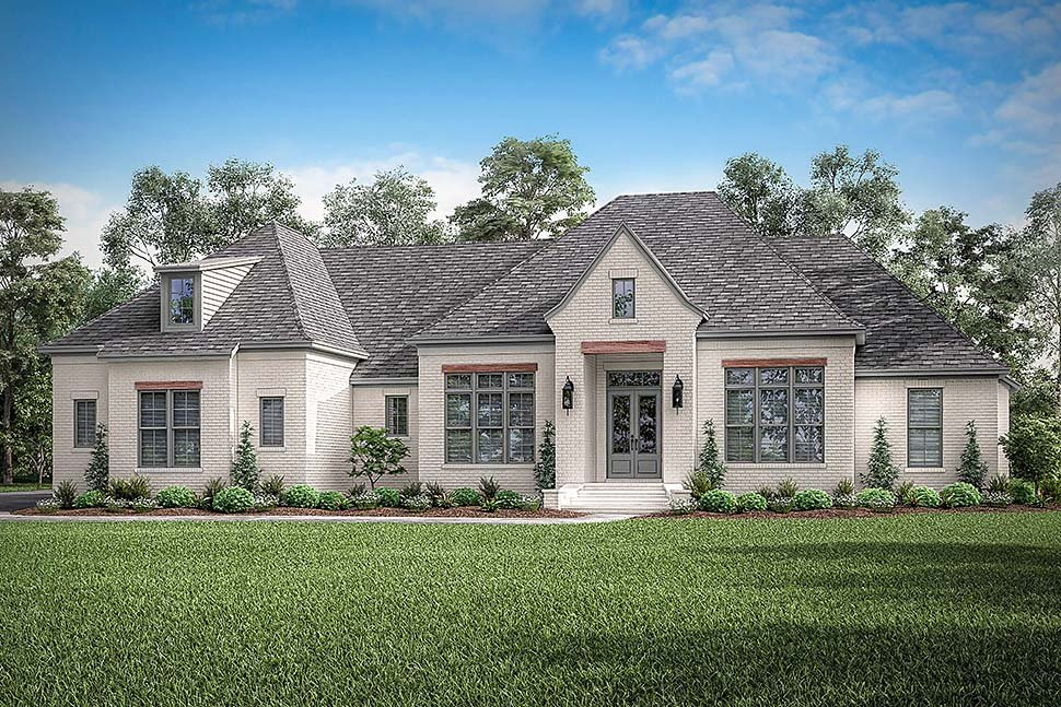 Country, European, French Country Plan with 3032 Sq. Ft., 4 Bedrooms, 3 Bathrooms, 3 Car Garage Picture 4