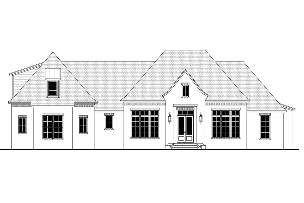 Country, European, French Country Plan with 3032 Sq. Ft., 4 Bedrooms, 3 Bathrooms, 3 Car Garage Picture 5