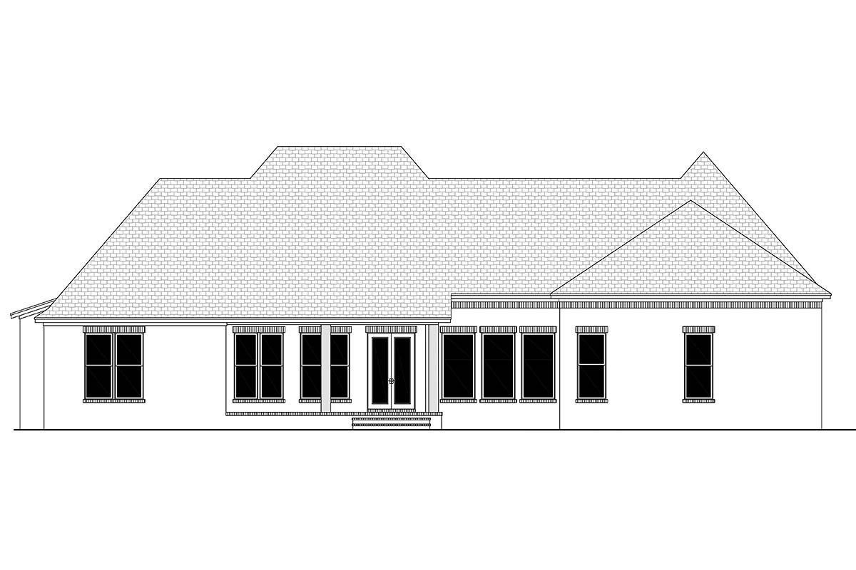 Country, European, French Country Plan with 3032 Sq. Ft., 4 Bedrooms, 3 Bathrooms, 3 Car Garage Rear Elevation