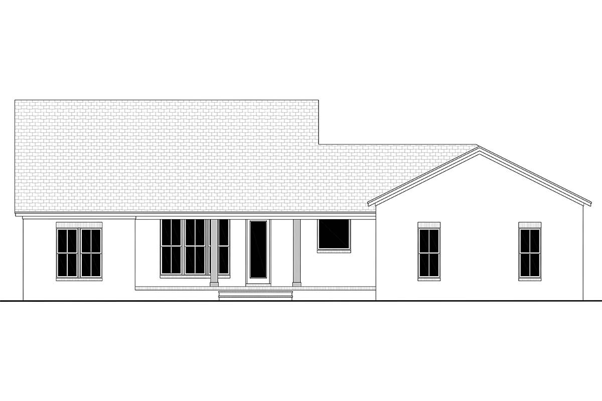 Country, Craftsman, Farmhouse, Traditional Plan with 2044 Sq. Ft., 3 Bedrooms, 3 Bathrooms, 2 Car Garage Rear Elevation