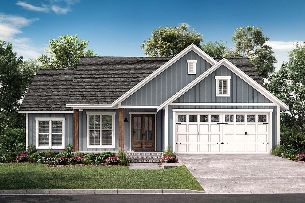 Country, Farmhouse, Southern, Traditional Plan with 1521 Sq. Ft., 3 Bedrooms, 2 Bathrooms, 2 Car Garage Elevation