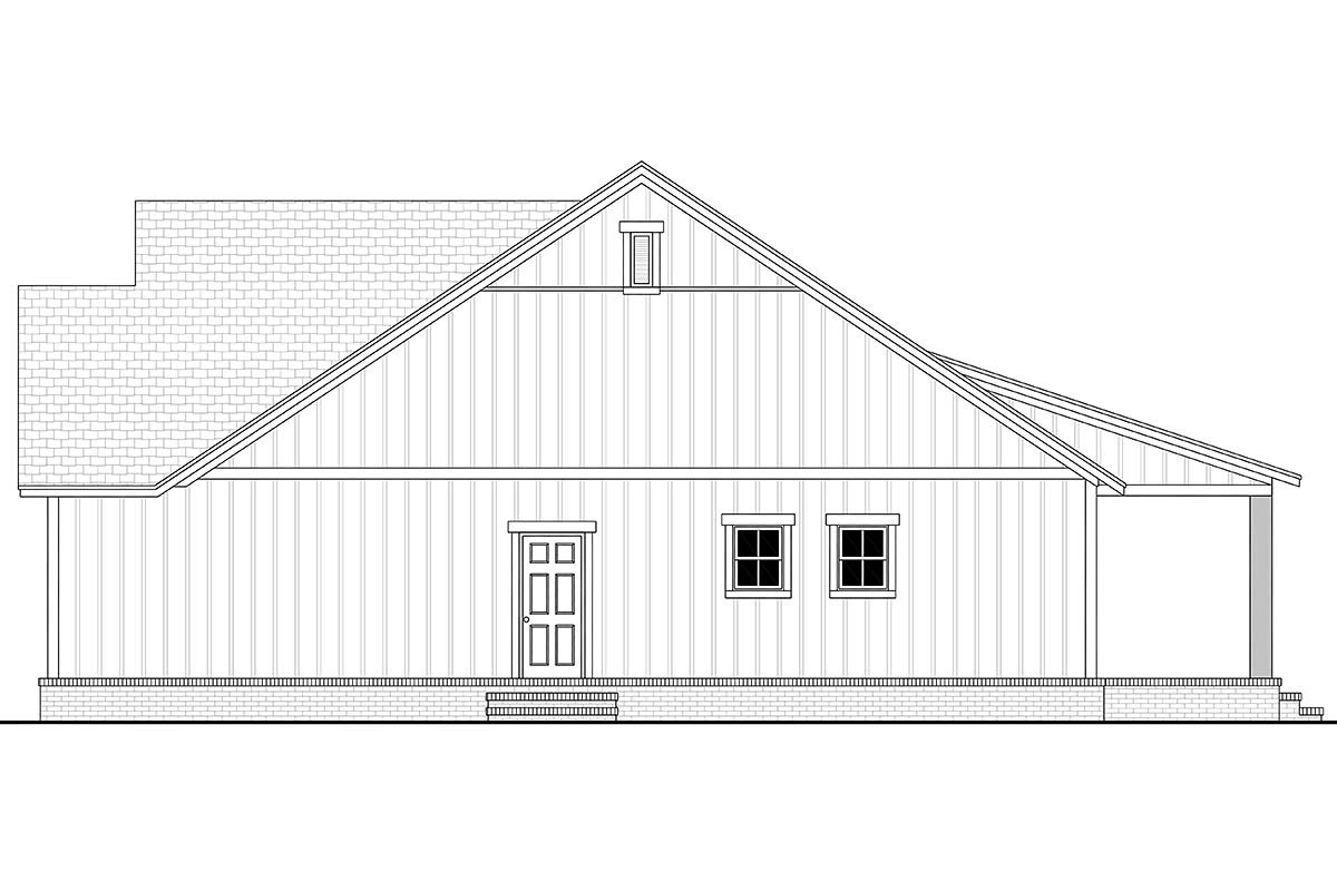 Country, Farmhouse, Southern, Traditional Plan with 1521 Sq. Ft., 3 Bedrooms, 2 Bathrooms, 2 Car Garage Picture 2