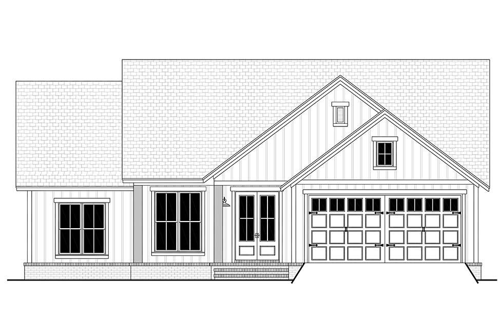 Country, Farmhouse, Southern, Traditional Plan with 1521 Sq. Ft., 3 Bedrooms, 2 Bathrooms, 2 Car Garage Picture 4