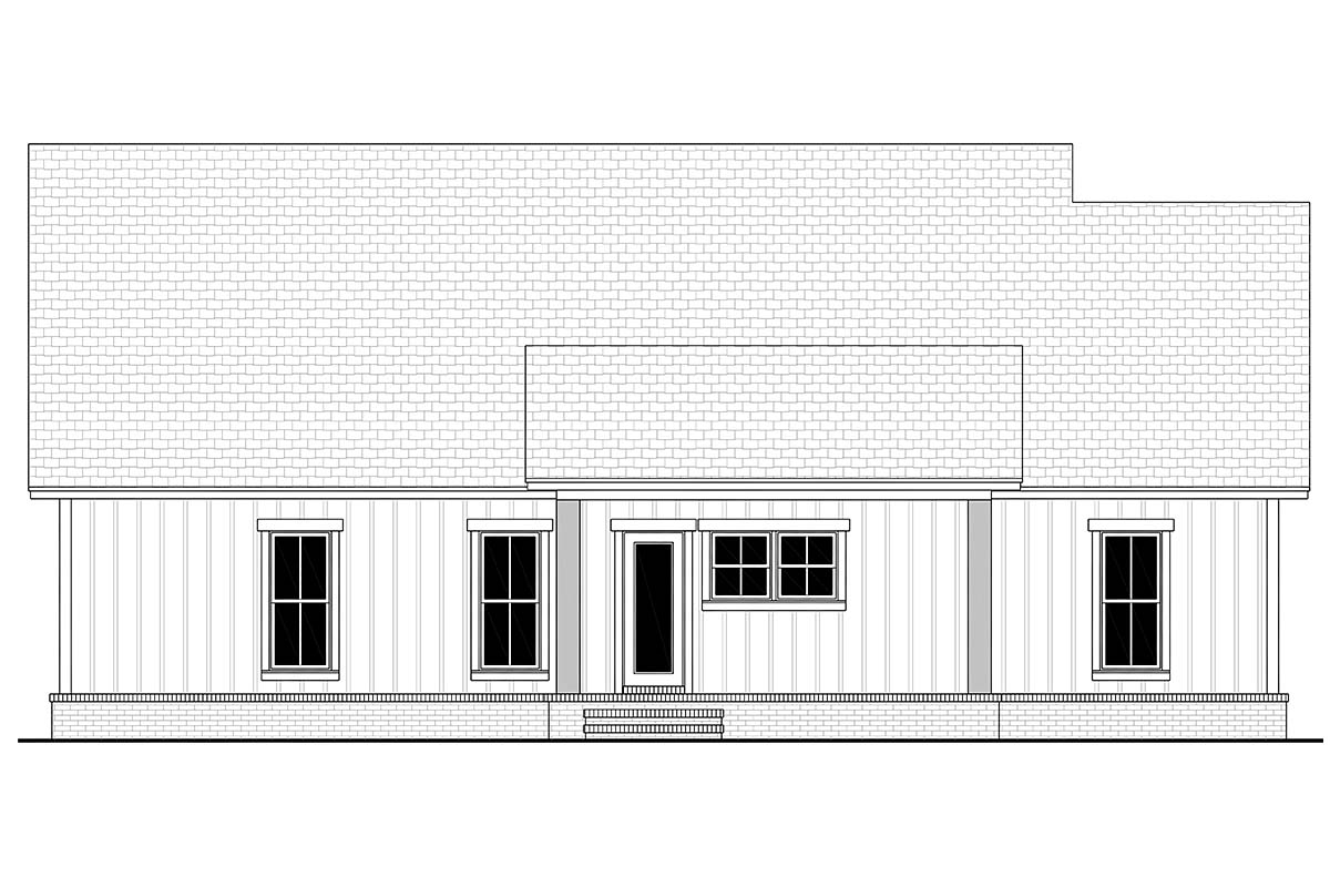 Country, Farmhouse, Southern, Traditional Plan with 1521 Sq. Ft., 3 Bedrooms, 2 Bathrooms, 2 Car Garage Rear Elevation