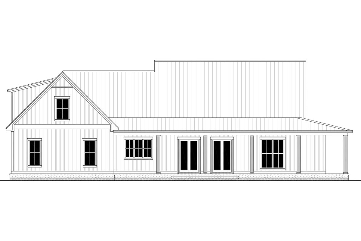 Country, Craftsman, Farmhouse Plan with 2395 Sq. Ft., 3 Bedrooms, 3 Bathrooms, 2 Car Garage Rear Elevation