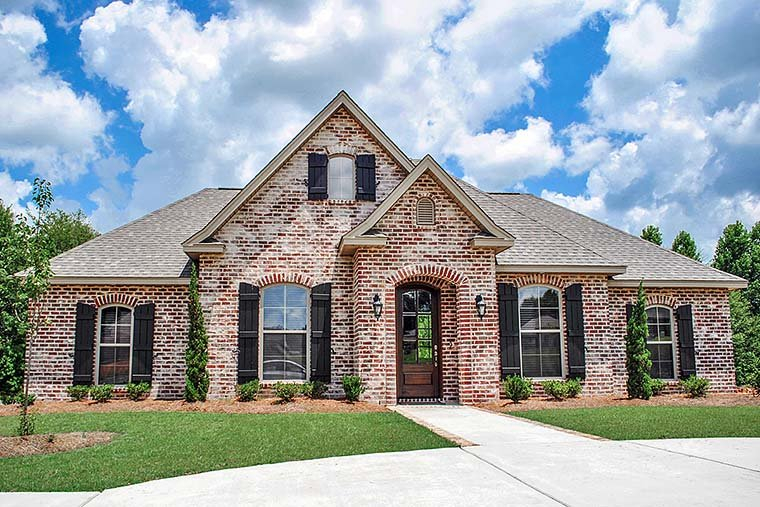 European, French Country, Traditional Plan with 1715 Sq. Ft., 3 Bedrooms, 2 Bathrooms, 2 Car Garage Elevation