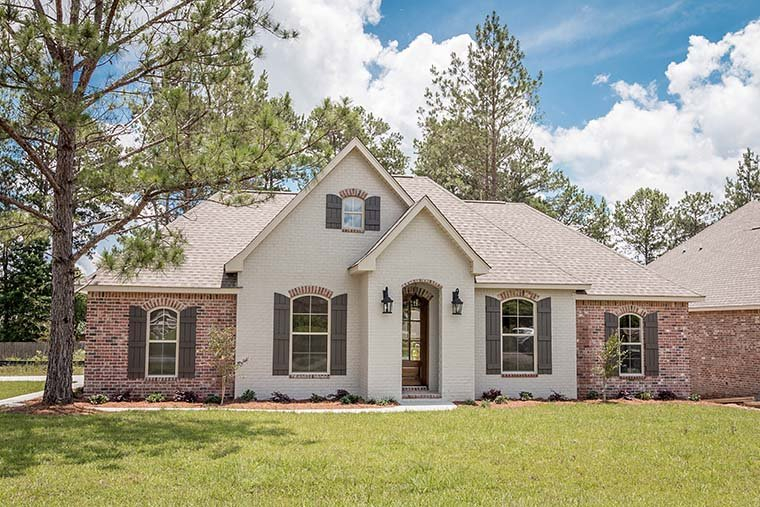 European, French Country, Traditional Plan with 1715 Sq. Ft., 3 Bedrooms, 2 Bathrooms, 2 Car Garage Picture 2