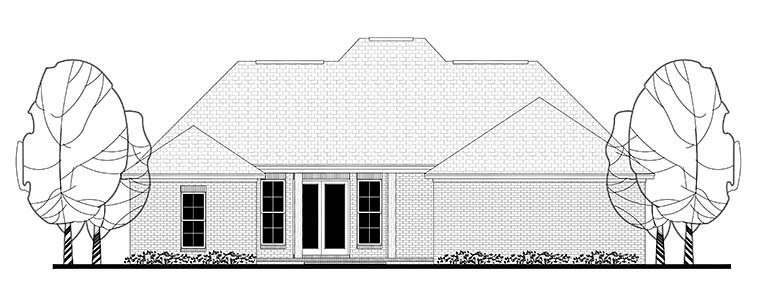 European, French Country, Traditional Plan with 1715 Sq. Ft., 3 Bedrooms, 2 Bathrooms, 2 Car Garage Rear Elevation