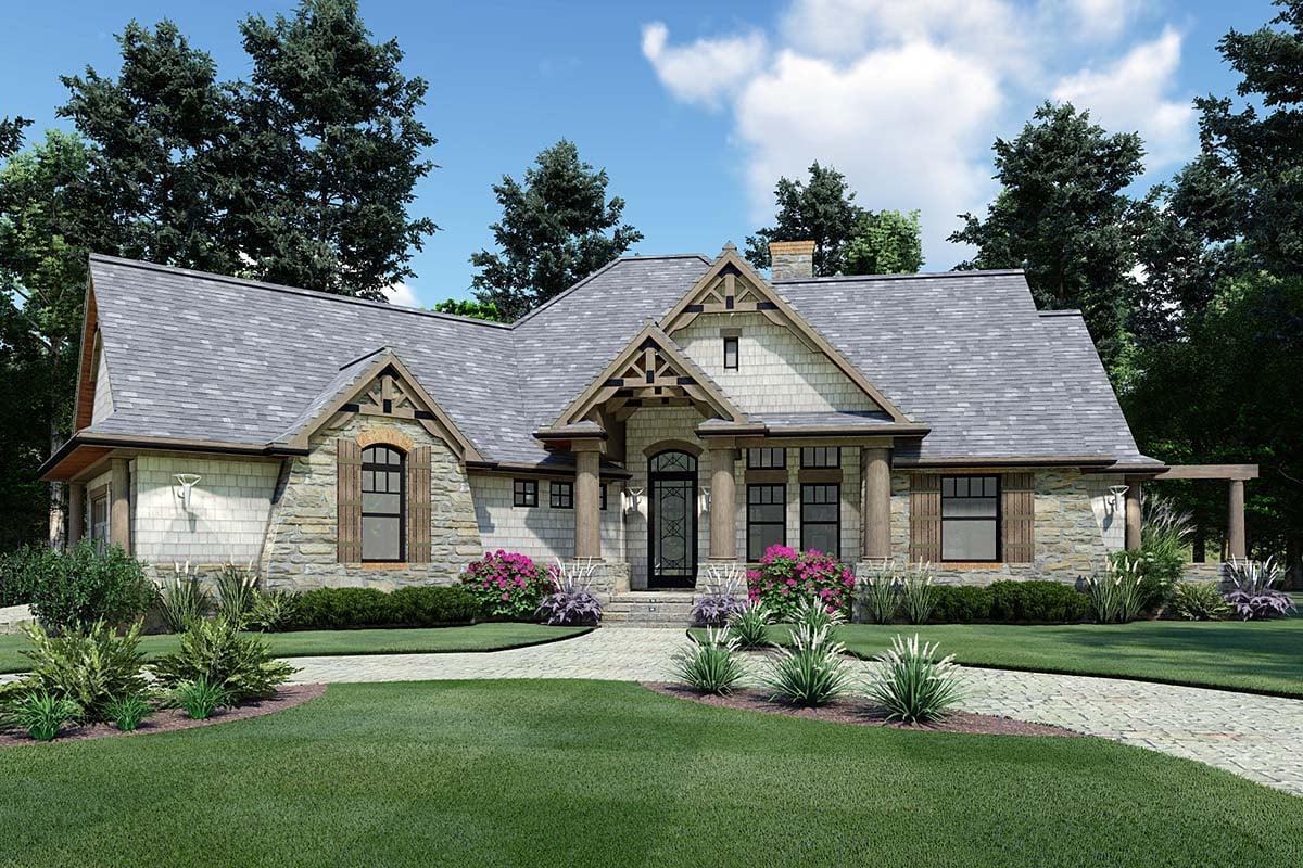 Cottage, Craftsman, Tuscan Plan with 1848 Sq. Ft., 3 Bedrooms, 2 Bathrooms, 2 Car Garage Elevation