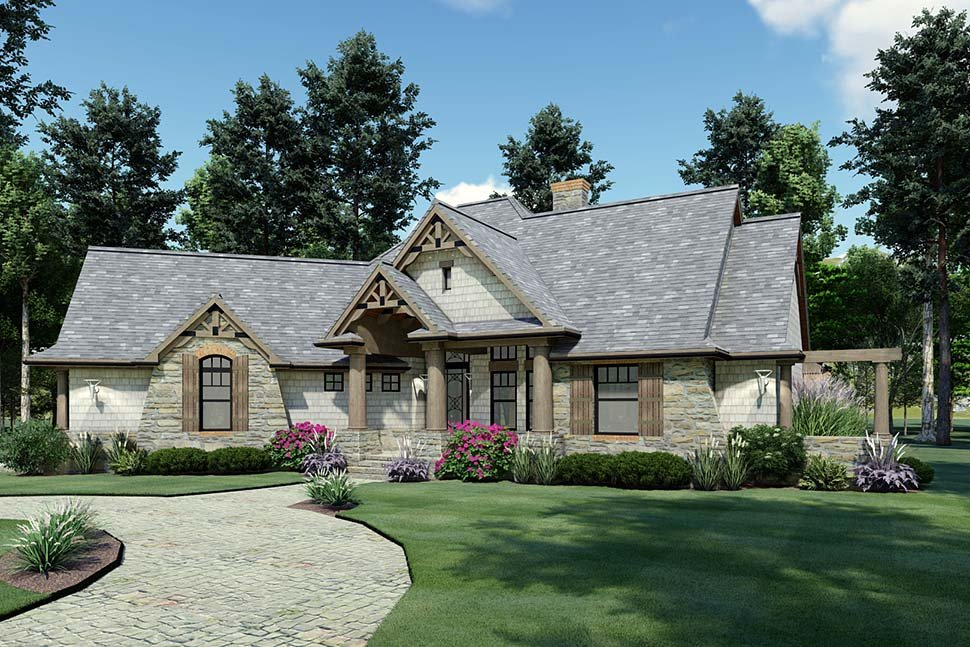 Cottage, Craftsman, Tuscan Plan with 1848 Sq. Ft., 3 Bedrooms, 2 Bathrooms, 2 Car Garage Picture 4
