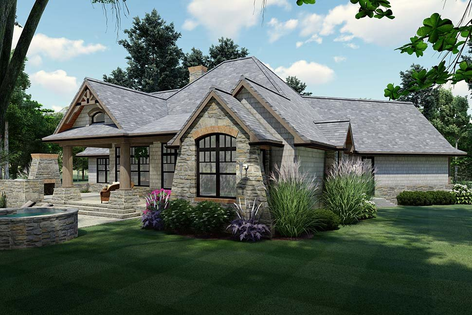 Cottage, Craftsman, Tuscan Plan with 1848 Sq. Ft., 3 Bedrooms, 2 Bathrooms, 2 Car Garage Picture 5