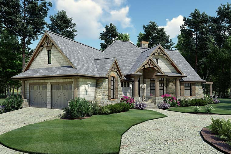 Cottage, Craftsman, Tuscan Plan with 1848 Sq. Ft., 3 Bedrooms, 2 Bathrooms, 2 Car Garage Picture 6