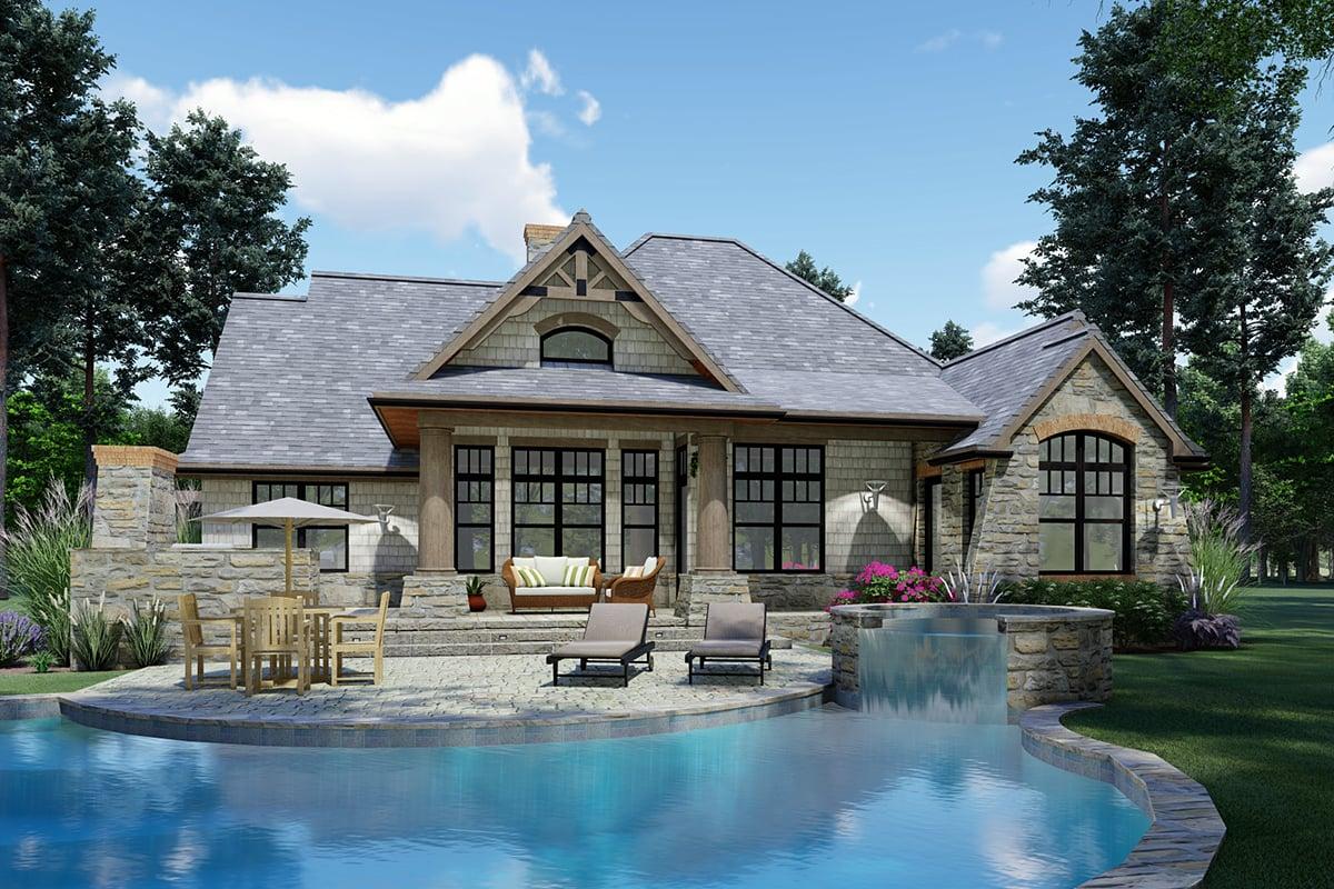 Cottage, Craftsman, Tuscan Plan with 1848 Sq. Ft., 3 Bedrooms, 2 Bathrooms, 2 Car Garage Rear Elevation