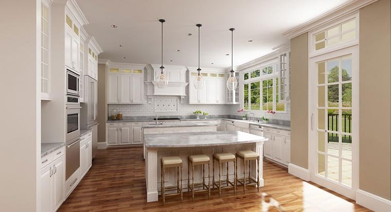 European, French Country Plan with 3302 Sq. Ft., 5 Bedrooms, 5 Bathrooms, 5 Car Garage Picture 2