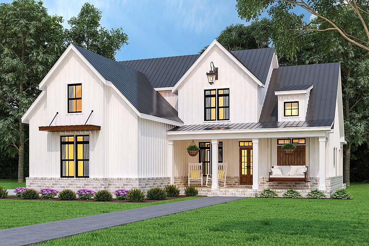 Country, Farmhouse, Southern Plan with 1999 Sq. Ft., 3 Bedrooms, 4 Bathrooms, 2 Car Garage Elevation