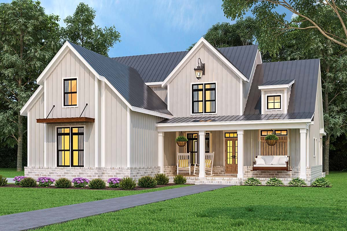 Country, Farmhouse, Southern Plan with 1999 Sq. Ft., 3 Bedrooms, 4 Bathrooms, 2 Car Garage Picture 2