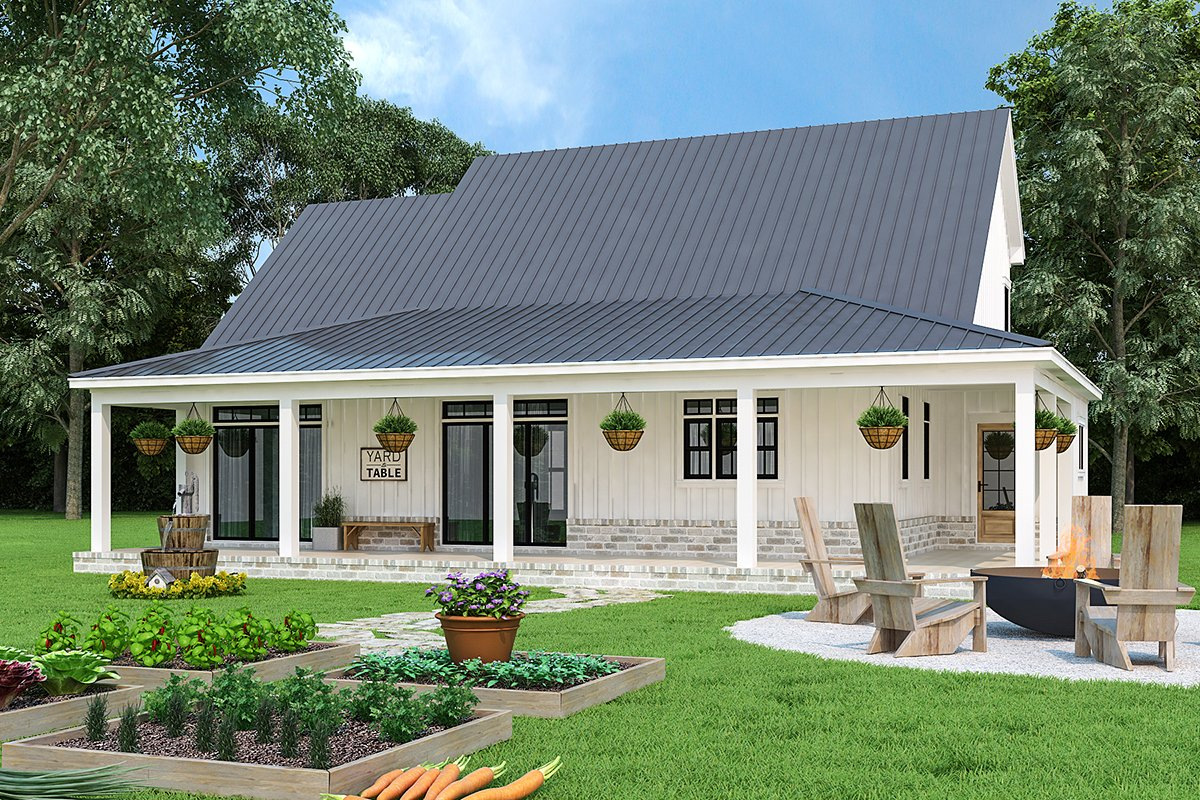 Country, Farmhouse, Southern Plan with 1999 Sq. Ft., 3 Bedrooms, 4 Bathrooms, 2 Car Garage Rear Elevation