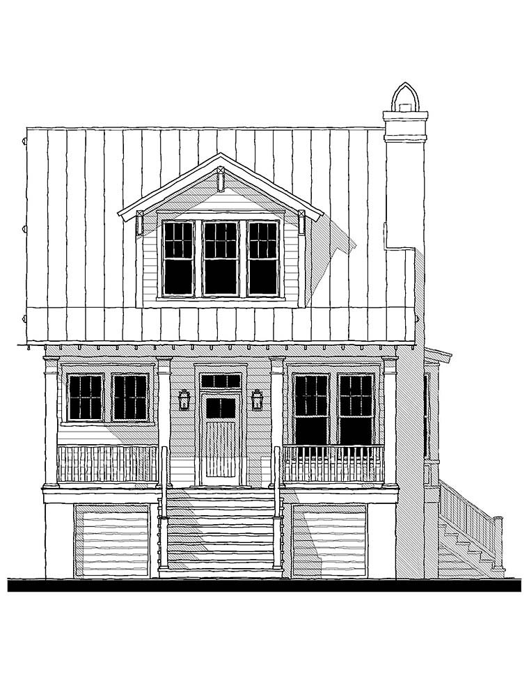Coastal, Cottage, Country, Southern Plan with 1801 Sq. Ft., 3 Bedrooms, 3 Bathrooms Picture 2