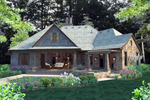 Cottage, Craftsman, Tuscan Plan with 2482 Sq. Ft., 4 Bedrooms, 4 Bathrooms, 2 Car Garage Rear Elevation