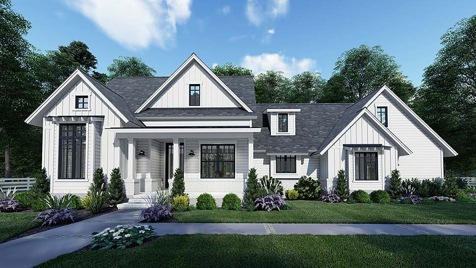 Country, Craftsman, Farmhouse, Southern Plan with 1486 Sq. Ft., 3 Bedrooms, 2 Bathrooms, 2 Car Garage Elevation