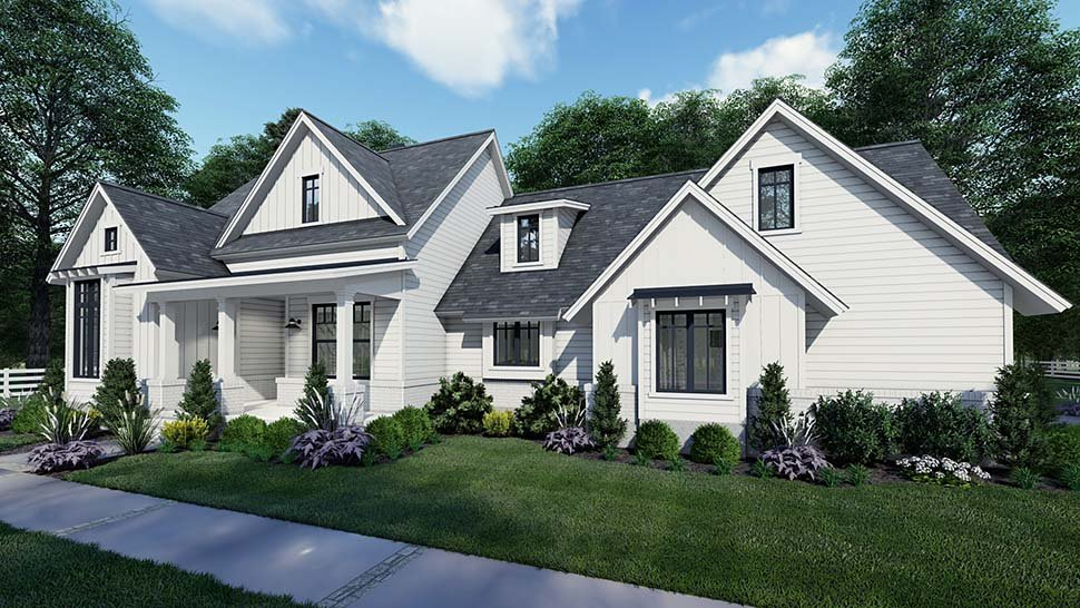 Country, Craftsman, Farmhouse, Southern Plan with 1486 Sq. Ft., 3 Bedrooms, 2 Bathrooms, 2 Car Garage Picture 2