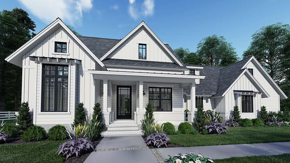 Country, Craftsman, Farmhouse, Southern Plan with 1486 Sq. Ft., 3 Bedrooms, 2 Bathrooms, 2 Car Garage Picture 3
