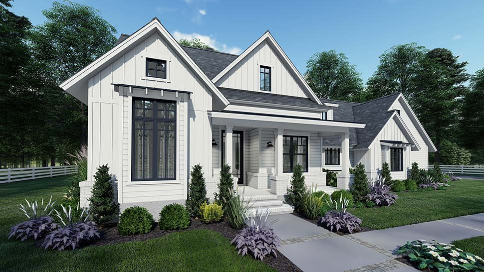Country, Craftsman, Farmhouse, Southern Plan with 1486 Sq. Ft., 3 Bedrooms, 2 Bathrooms, 2 Car Garage Picture 4