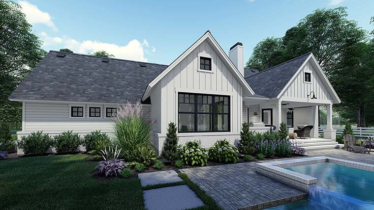 Country, Craftsman, Farmhouse, Southern Plan with 1486 Sq. Ft., 3 Bedrooms, 2 Bathrooms, 2 Car Garage Picture 6