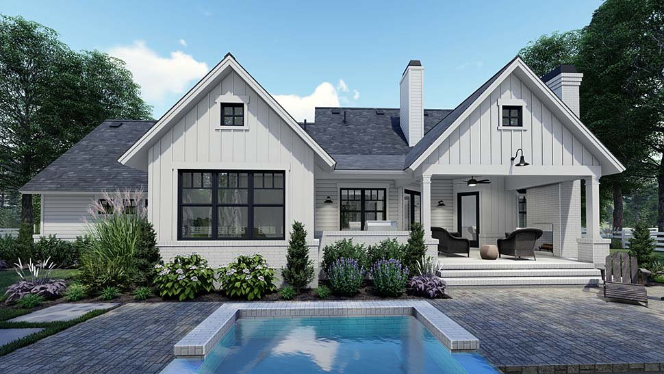 Country, Craftsman, Farmhouse, Southern Plan with 1486 Sq. Ft., 3 Bedrooms, 2 Bathrooms, 2 Car Garage Rear Elevation