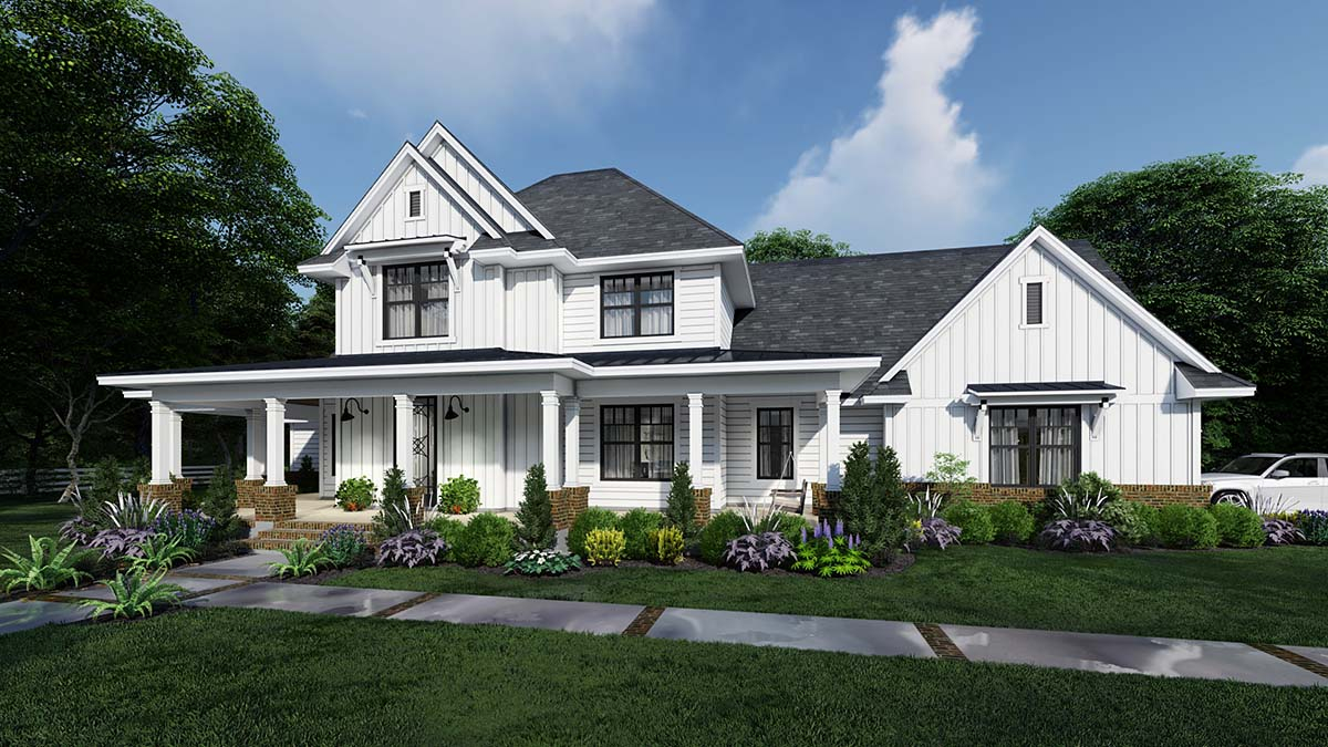 Country, Farmhouse Plan with 2829 Sq. Ft., 4 Bedrooms, 4 Bathrooms, 3 Car Garage Elevation